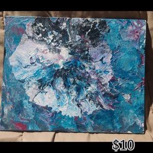 Blue paint pouring art  8X10